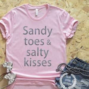 Beach Themed Vacay Graphic Tee - Sandy Toes - NEW
